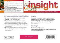 insight: Elementary: Online Workbook Plus - Card with Access Code