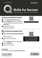Q: Skills for Success: Intro Level: Listening and Speaking Teacher's Access   Card 3rd Revised edition