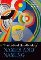 Oxford Handbook of Names and Naming