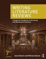 Writing Literature Reviews: A Guide for Students of the Social and Behavioral Sciences New edition