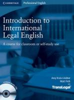 Introduction to International Legal English Student's Book with Audio CDs (2): A Course for Classroom or Self-Study Use Student Manual/Study Guide
