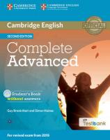 Complete Advanced Student's Book Without Answers with CD-ROM with Testbank 2nd Revised edition