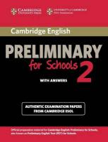 PET Practice Tests: Authentic Examination Papers from Cambridge ESOL, Cambridge English Preliminary for Schools 2 Student's Book with Answers:   Authentic Examination Papers from Cambridge ESOL
