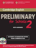 PET Practice Tests: Authentic Examination Papers from Cambridge ESOL, Cambridge English Preliminary for Schools 2 Self-study Pack (Student's Book   with Answers and Audio CDs (2)): Authentic Examination Papers from Cambridge   ESOL