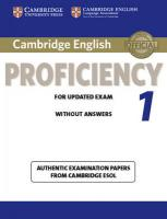 CPE Practice Tests: Authentic Examination Papers from Cambridge ESOL, Cambridge English Proficiency 1 for Updated Exam Student's Book without   Answers: Authentic Examination Papers from Cambridge ESOL