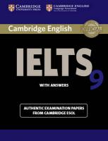 IELTS Practice Tests: Authentic Examination Papers from Cambridge ESOL, Cambridge IELTS 9 Student's Book with Answers: Authentic Examination Papers   from Cambridge ESOL