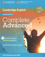 Complete Advanced Student's Book without Answers with CD-ROM 2nd Revised edition