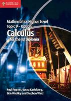 Mathematics Higher Level for the IB Diploma Option Topic 9 Calculus, Mathematics Higher Level for the IB Diploma Option Topic 9 Calculus