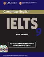 IELTS Practice Tests: Authentic Examination Papers from Cambridge ESOL, Cambridge IELTS 9 Self-study Pack (Student's Book with Answers and Audio   CDs (2)): Authentic Examination Papers from Cambridge ESOL