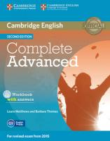 Complete Advanced Workbook with Answers with Audio CD 2nd Revised edition