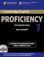 CPE Practice Tests: Authentic Examination Papers from Cambridge ESOL, Cambridge English Proficiency 1 for Updated Exam Self-study Pack (Student's   Book with Answers and Audio CDs (2)): Authentic Examination Papers from   Cambridge ESOL