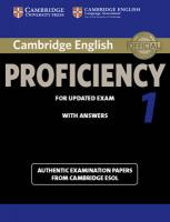 CPE Practice Tests: Authentic Examination Papers from Cambridge ESOL, Cambridge English Proficiency 1 for Updated Exam Student's Book with   Answers: Authentic Examination Papers from Cambridge ESOL
