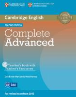 Complete Advanced Teacher's Book with Teacher's Resources Cd-rom 2nd Revised edition
