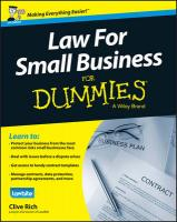 Law for Small Business for Dummies UK Edition UK ed