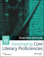 Developing Core Literacy Proficiencies, Grade 11 Teacher Edition, Grade 11