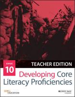 Developing Core Literacy Proficiencies, Grade 10 Teacher Edition, Grade 10