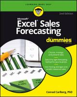 Excel Sales Forecasting For Dummies 2nd Edition