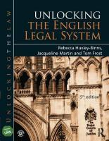 Unlocking the English Legal System 5th New edition