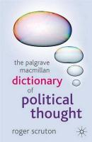 Palgrave Macmillan Dictionary of Political Thought 2007 3rd ed. 2007