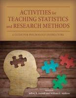 Activities for Teaching Statistics and Research Methods: A Guide for Psychology Instructors