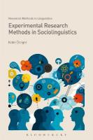 Experimental Research Methods in Sociolinguistics