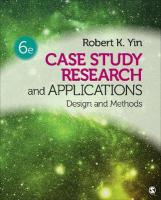 Case Study Research and Applications: Design and Methods 6th Revised edition
