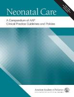Neonatal Care: A Compendium of Clinical Practice Guidelines and Policies