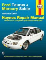 Ford Taurus & Mercury Sable Automotive Repair Manual: 1996 - 2007