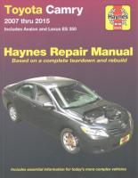 Toyota Camry, Avalon, Lexus Es350 Automotive Repai: 2007-15 2nd Revised edition