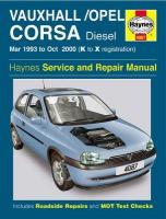 Vauxhall/Opel Corsa Diesel (Mar 93 - Oct 00) K To X: March 1993-October 2000