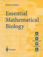 Essential Mathematical Biology 1st ed. 2003. Corr. 2nd printing
