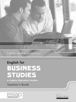 English for Business Studies Teacher Book Teacher's edition, Teacher's Studies