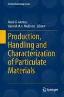 Production, Handling and Characterization of Particulate Materials 2016 1st ed. 2016