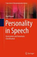 Personality in Speech: Assessment and Automatic Classification Softcover reprint of the original 1st ed. 2015