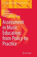 Assessment in Music Education: from Policy to Practice Softcover reprint of the original 1st ed. 2015