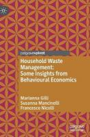 Household Waste Management: Some Insights from Behavioural Economics 1st ed. 2018