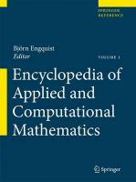 Encyclopedia of Applied and Computational Mathematics 2015 1st ed. 2015