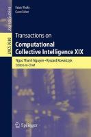 Transactions on Computational Collective Intelligence XIX 2015 2015 ed.